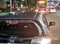 Bus Transjakarta Tabrak Honda Jazz di Depan Sarinah Thamrin