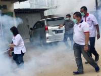 Caleg Perindo Helat Fogging di 5 Kelurahan Dolok Masihul