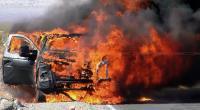Mobil Terbakar di Tol Pluit Arah Tanjung Priok