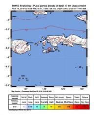 Ambon Digoyang Gempa Magnitudo 3,4
