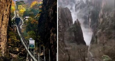 Menakjubkan, Sensasi Naik Kereta Membelah Pegunungan