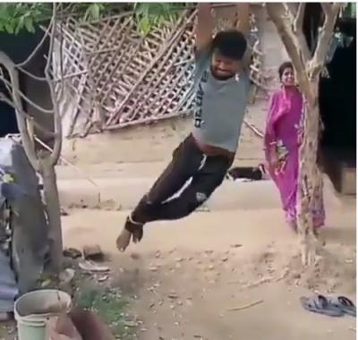 Ngambek, Wanita Ini Gantung Suaminya di Atas Pohon