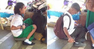 Viral Kakak-Beradik Jadi Tukang Sol Sepatu Demi Bisa Sekolah