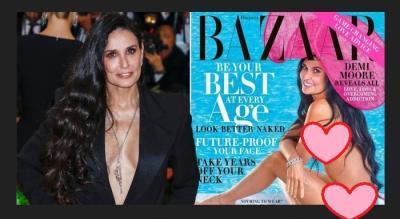 Tanpa Busana di Cover Majalah, Foto Lekuk Tubuh Demi Moore Disangka Editan