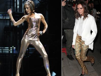 Gaya Victoria Beckham Pakai Celana Emas, Keren Banget!