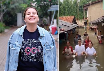 Usir Stres, Tya Ariestya Main TikTok saat Banjir