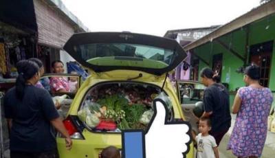 Bukan Gerobak, Honda Brio Dipakai untuk Jualan Sayur Keliling